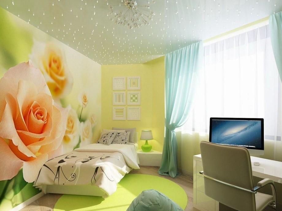 Желтые фотообои для спальни