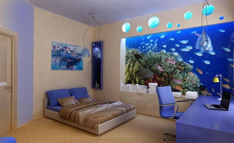 Синие фотообои 3Д для спальни