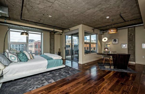 спальня лофт с бетонным потолком
