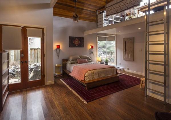 спальня лофт с обратной планировкой этажа