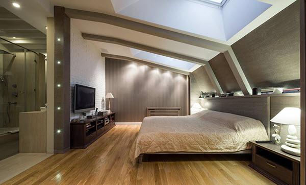 спальни-лофт с деревянными стенами