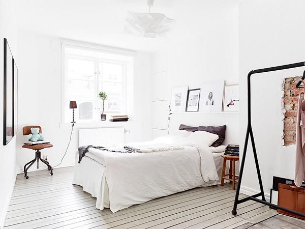 Белые спальни в стиле лофт