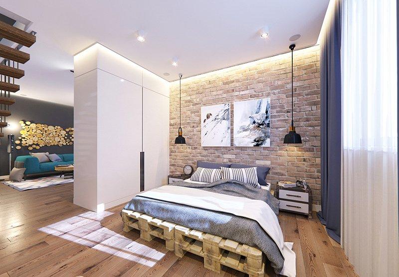 белые спальни лофт кирпич