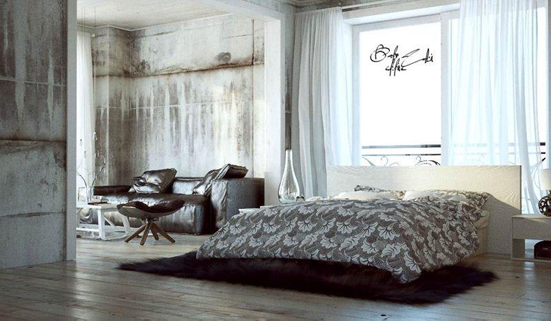 белые спальни лофт