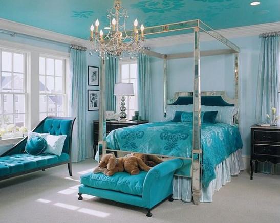 спальня в коричнево бирюзовых тонах фото