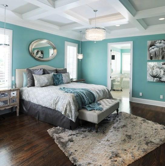 бирюзово коричневая спальня