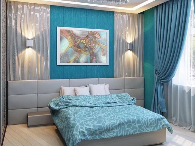 коричнево бирюзовая спальня