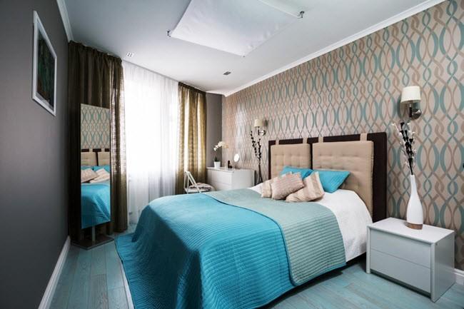 спальня в бирюзово коричневых тонах