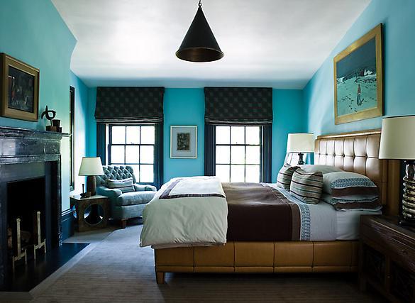дизайн спальни в коричнево бирюзовых тонах