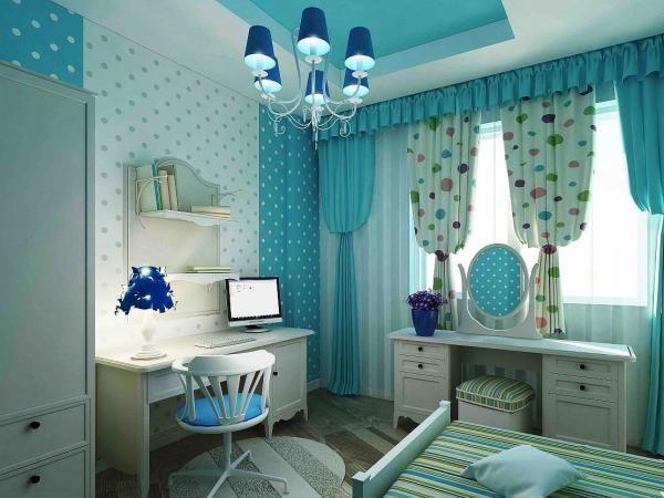 бирюзовая спальня для девочки