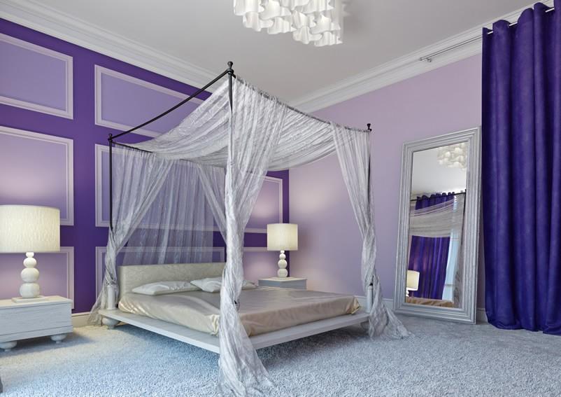 Фиолетовый дизайн спальни для взрослых