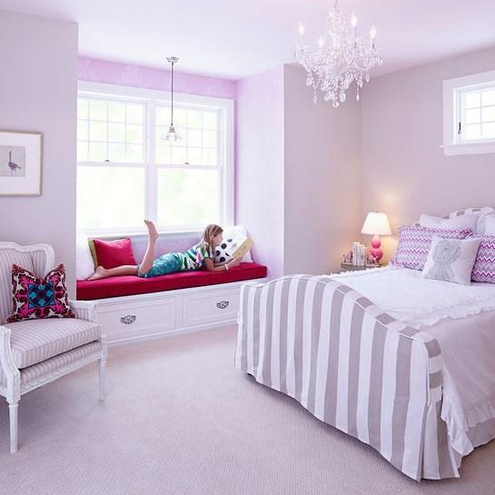 Сиреневый интерьер для спальни