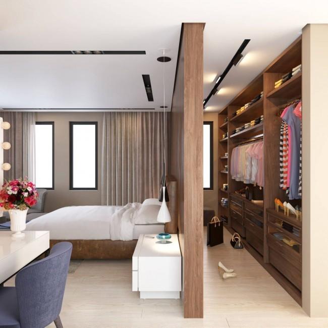 спальня с гардеробной дизайн