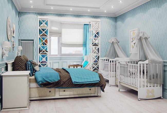 Дизайн спальни, совещенной с детской комнатой