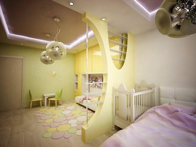 организация пространства спальни и детской в одной комнате