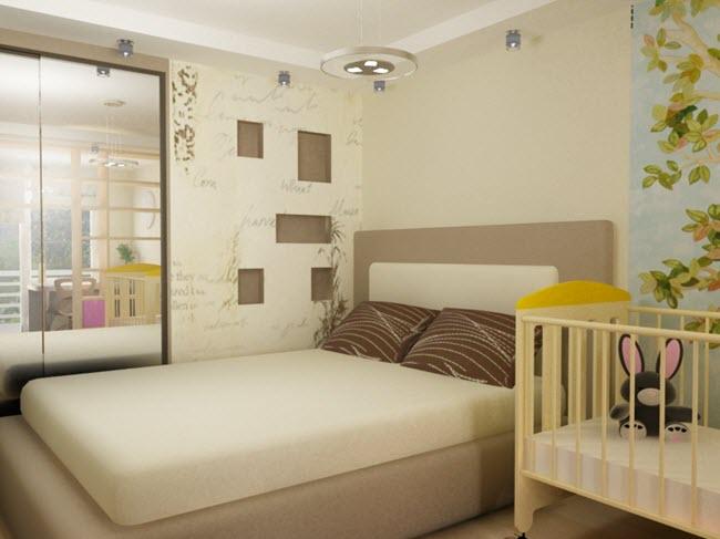 Стиль спальни с детской