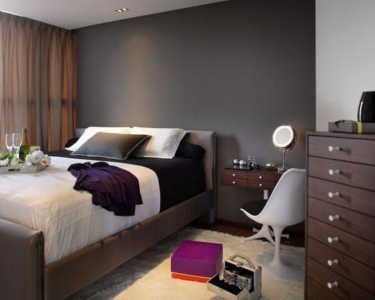 спальня в темно-серых тонах дизайн фото
