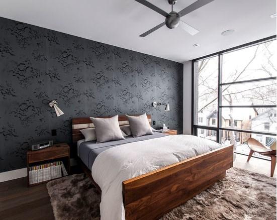 спальня и темный дизайн