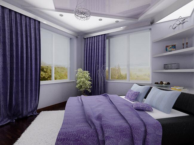 кровать в спальне по диагонали