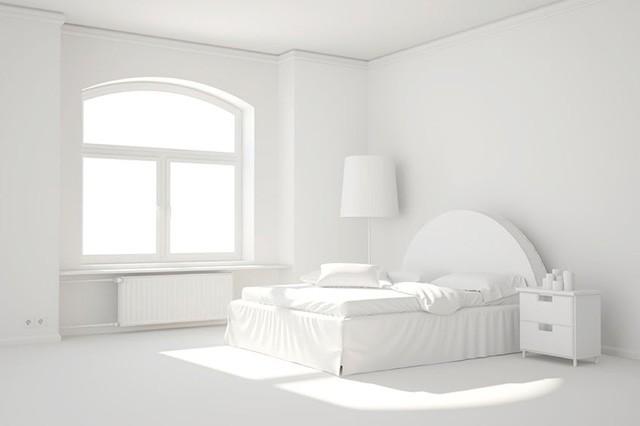 Минималистская белая спальня