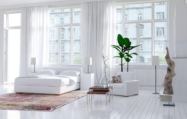 Современная однотонная спальня