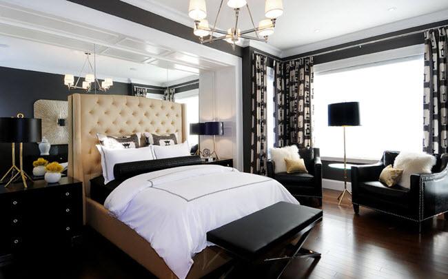 Интерьер черно-белой спальни