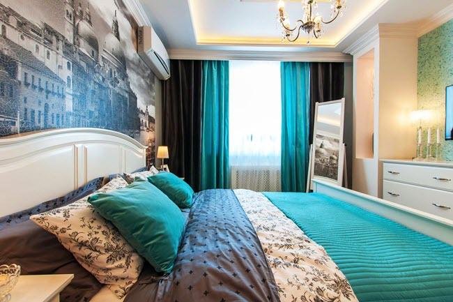 элегантные шторы бирюзового цвета