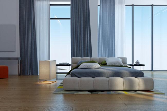стильная бело-голубая спальня