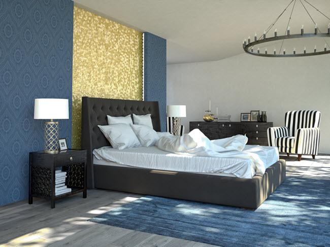 яркий акцент бело-голубой спальни