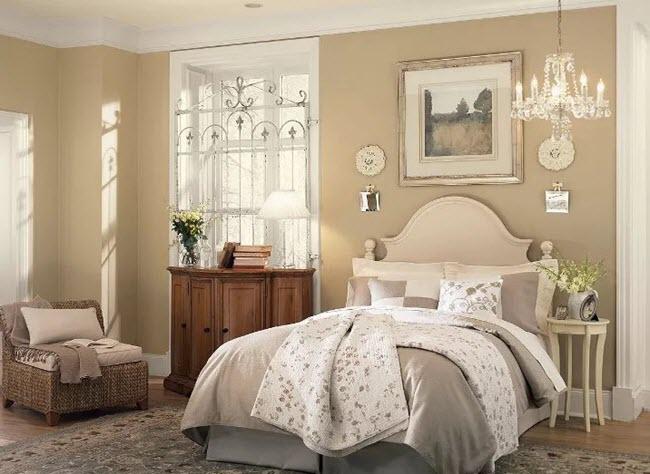 бежево-коричневая ретро спальня