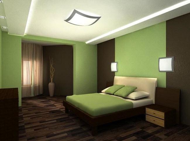зелено-коричневая спальня