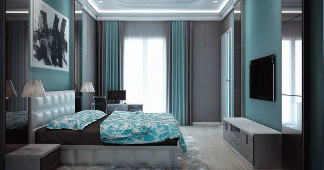 спальня бирюзово черная