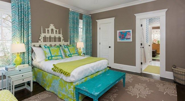 спальня бирюзово серая