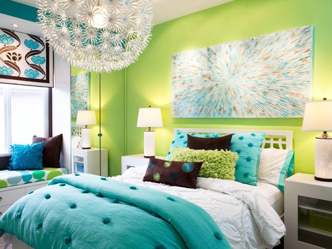 дизайн спальни бирюза