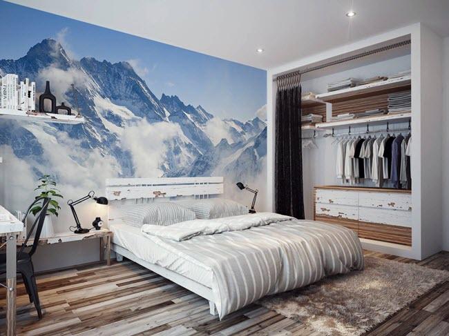 Возможности голубого в интерьере спальни
