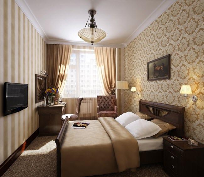 Дизайн интерьера узкой спальни с окном в конце