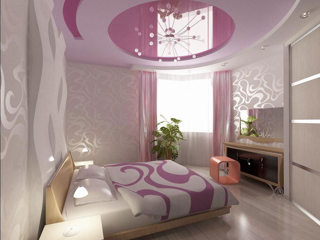 Потолок обоями в два цвета