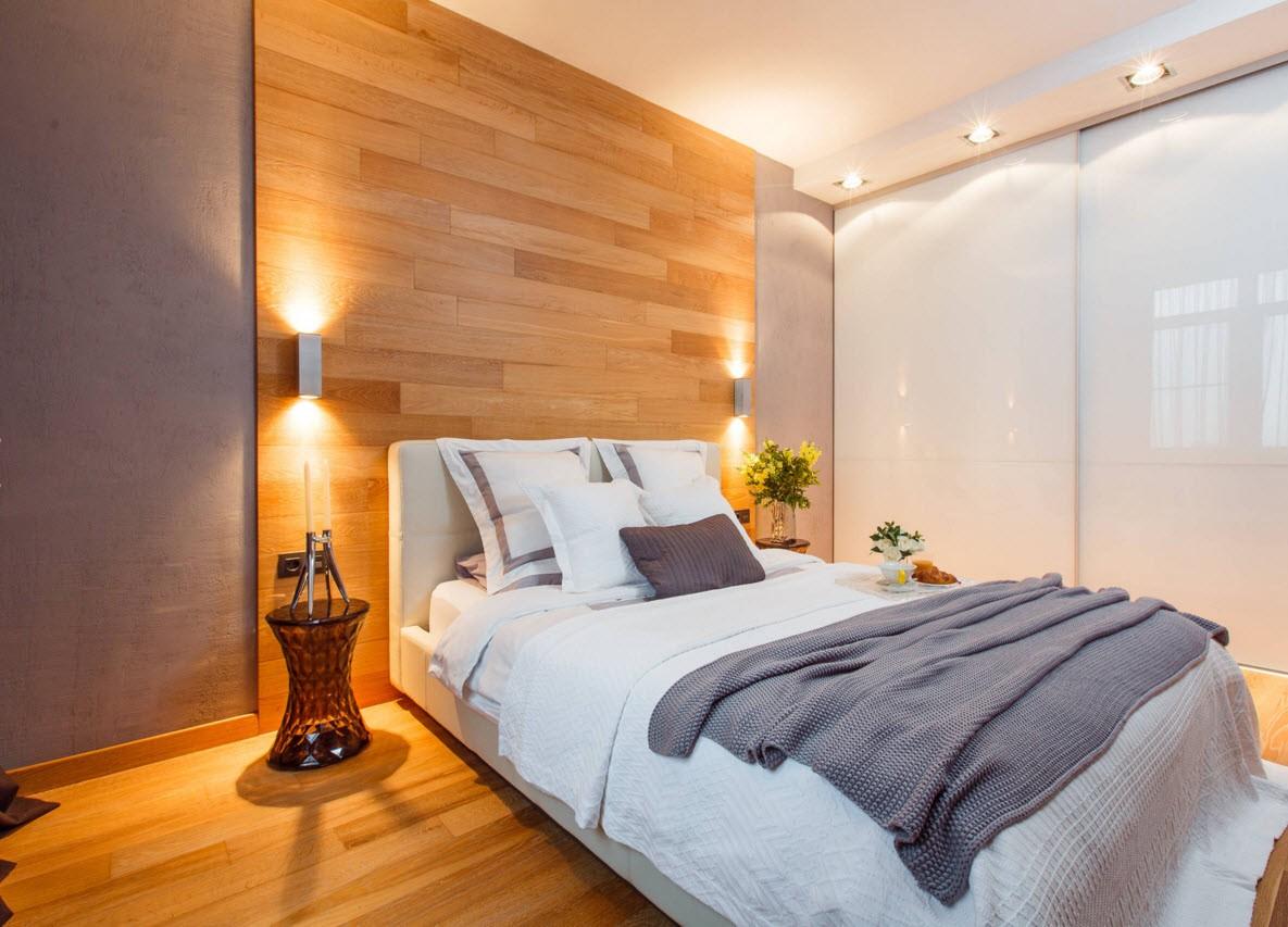 ламинат на стене в интерьере спальни фото
