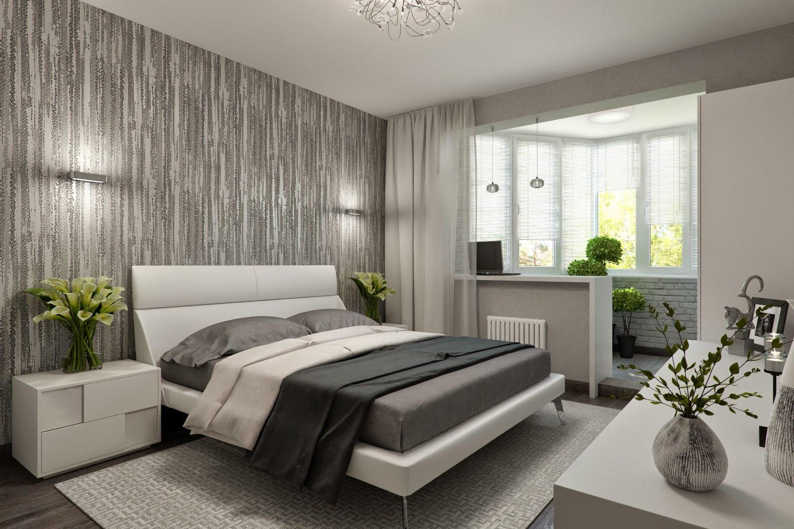 оформление объединенной с балконом спальни