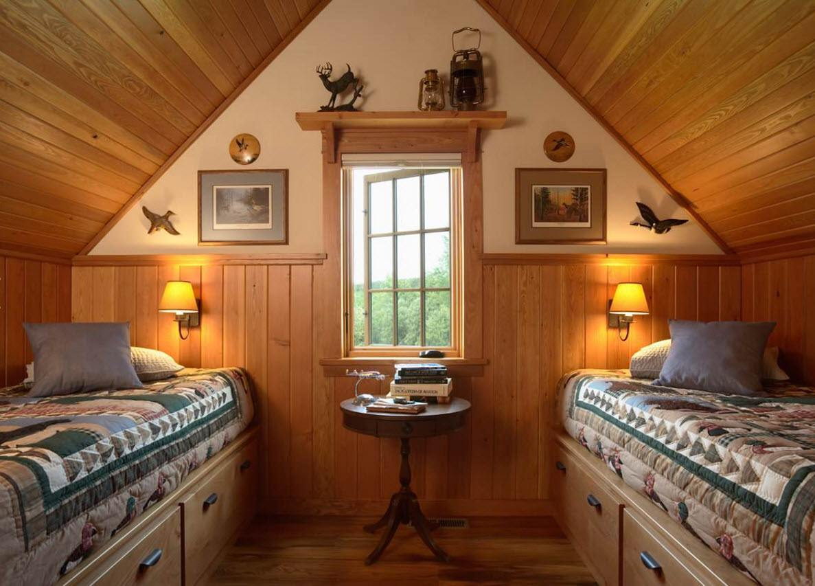 спальня в мансардных этажах