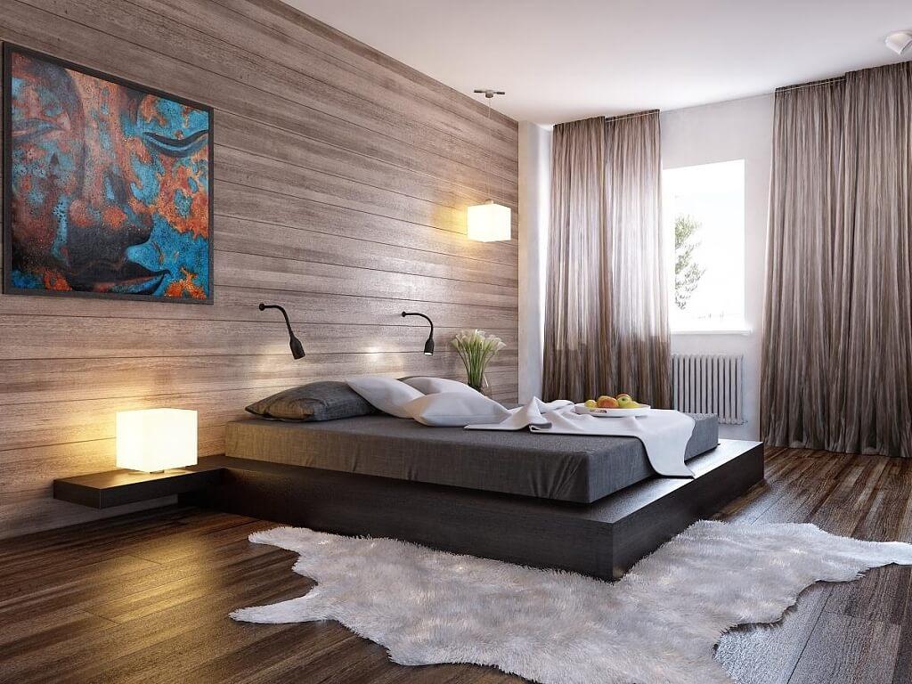 стена из ламината в спальне