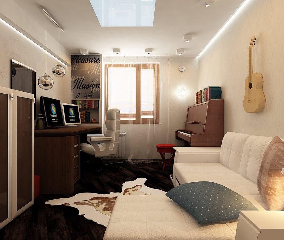 Дизайн совмещенная спальня и кабинет